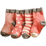 Baby Jungen und Mädchen Socken Schöne-Patchwork Baumwolle 4 Paar Strümpfe Streifen-Ringelsocken-Wintersocken URIBAKY
