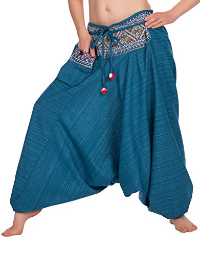 Zarlena taille smockée Boho pantalon de yoga Women`s hippie style thaïlandais Sarouel 780