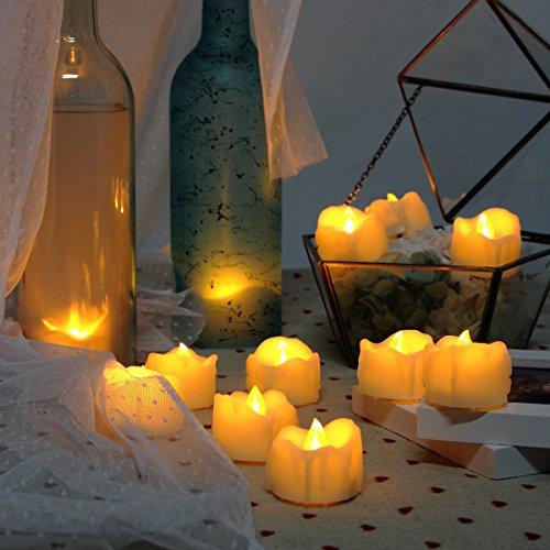 Fernbedienung Teelicht (Flammenlose Kerzen, realistisch und hell Flackernde LED Teelichter elektrische Kerzen batteriebetrieben, 300 Stunden nonstop Leuchten mit 2/4/6/8 Stunden-Timer und 10-Tasten-Fernbedienung. Elfenbeinfarbe. 6 Stück/Paket)