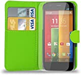 Motorola Moto G - Leather Wallet Case Cover Pouch + Screen Protector & Polishing Cloth ( Wallet Green )