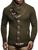 LEIF NELSON Herren Pullover Hoodie Strickjacke Sweatshirt Longsleeve Kapuzenpullover Jacke Sweatjacke Sweater LN4195; Größe XXXXL, Khaki
