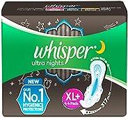 Whisper Ultra Night Sanitary Pads for Women, XL+ 44 Napkins