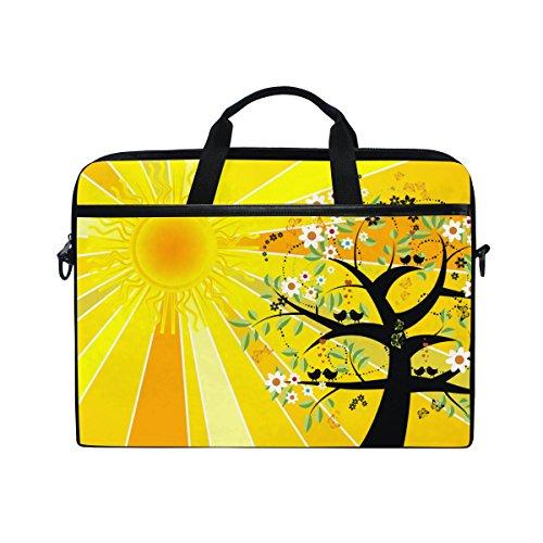 Ahomy Summer Solstice Sun Tree Bird Flower Multifunktional Stoff Wasserdicht Laptop Tasche Aktentasche Schultertasche Messenger Bag