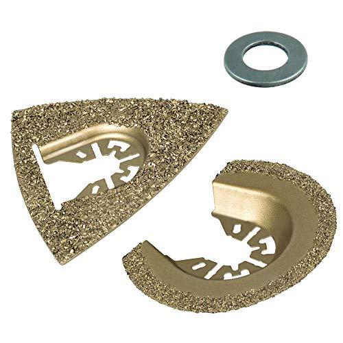 Wolfcraft 3993000 3993000-1 Set de Accesorios para Piedra y baldosas Contenido: 1 Placa de lijar para lijadora Delta, 1 Hoja para Sierra de segmento HM diam. 65 mm