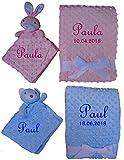 Set Babydecke & Kuscheltuch Noppen mit Namen Geschenk Baby Taufe Geburt (rosa)
