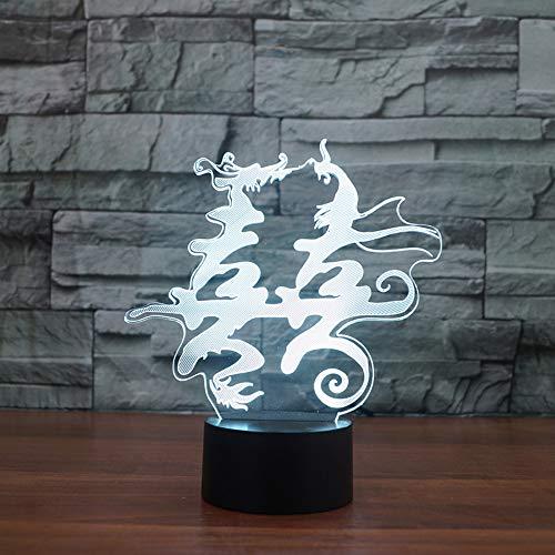 Qliyt Led Bunte Visuelle 3D Usb Drachen Und Phoenix Doppel Glück Nachtlicht Tischlampe Chinesische Heiraten Wohnkultur Usb Geschenk-Touch Schalter