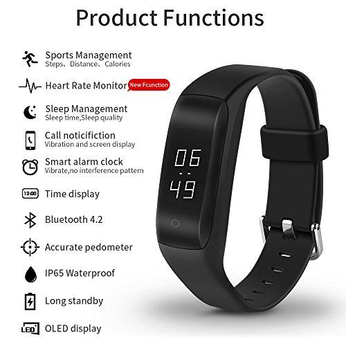 Yuntab-C5-GPS-Braccialetto-fitness-fitness-tracker-smart-bracelet-smartwatch-con-091-touchscreen-Oled-e-Bluetooth-3D-G-Sensor-per-Android44-sopra-e-IOS80-sopra-Misurazione-frequenza-cardiaca-contapass