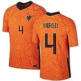 Virgil Van Dijk Nederland Shirt 2020/21,Mannen en Kinderen Shirt (Oranje, 26)