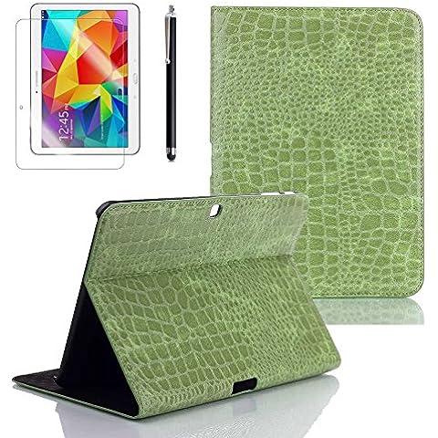 Boriyuan Stylus + Displayschutzfolie + Alligator Samsung GALAXY Tab 4 25,65 cm SM-T530 Muster Ledertasche/T531/T535 Slim Case Smart Cover mit Ständer grün