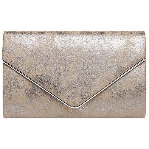 CASPAR TA349 Damen elegante Envelope Clutch Tasche / Abendtasche mit langer Kette, Farbe:taupe;Größe:One Size
