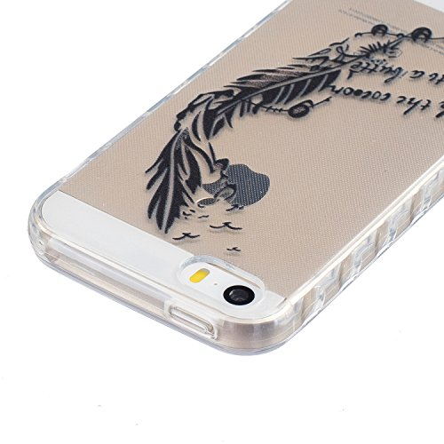 Sunroyal Hülle für iPhone SE 5 5S Silicone Case Cover, Scratch-resistant Ultra Slim TPU Case Cover Soft Protective with Pattern Design Transparent Soft silicone Cover Pattern 04