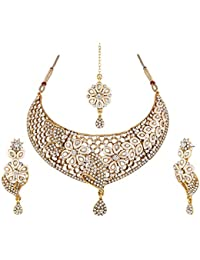 Apara Antique Gold Plated Necklace with Austrian Diamond for Women