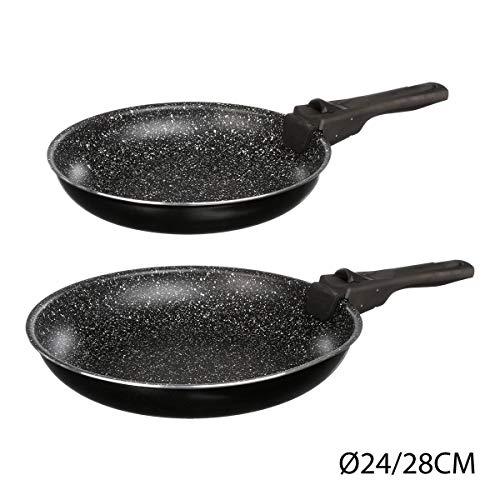 JJA 135111-Juego de 2 sartenes con Mango Desmontable 24 y 28 cm, diseño de Piedra