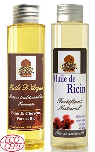 Soin Duo Cheveux Sublime - Huile D'Argan & Huile de Ricin - Croissance et brillance du cheveu - 200ml