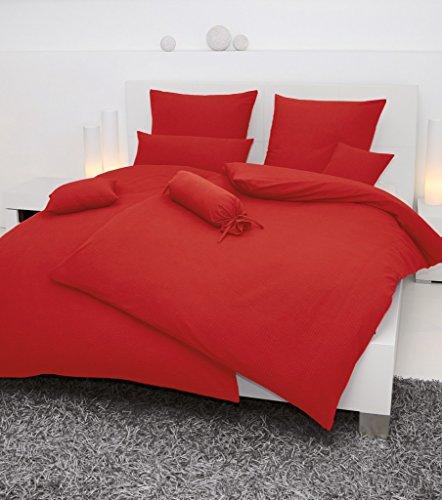 Janine Mako Soft Seersucker Bettwäsche in 19 Uni Farben 135x200 + 80x80 in rot