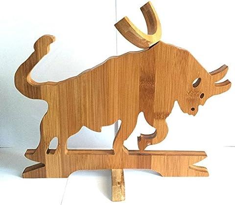 Designer Bull Bamboo Crafts Bottle Stand For Les Fêtes, Gifts, Novelty Wine Rack