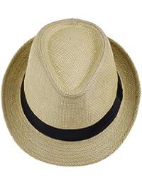 JTC® Chapeau Unisexe de Paille Panama Feroda,Chapeau de Soleil à la Plage/en PP Tresse,pour vacances-beige foncé