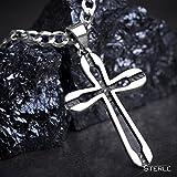 STERLL Herren-Kette, aus massivem 925 Silber mit einem silbernen Kreuzanhänger ideal als Geschenk für Mann oder Freund, mit Schmuckbox - 4