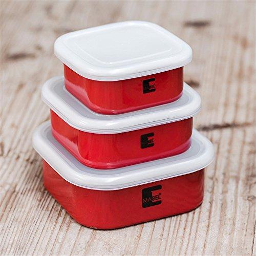 Wiederverwendbare Food Container/Essen Aufbewahrungsboxen, dicken Lack versiegelt, Aufbewahrungsbox, Kochnische Kühlschrank Aufbewahrungsbox Veranstalter Lunch Box Container Container, Rot, einen Satz Aufkleber