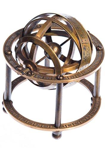 JapanAttitude Armillarsphäre aus Messing Astronomie 9cm Vintage Pirat Steampunk Globe