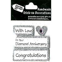 Express, Autoadesivo, per anniversario nozze di diamante, su argento tag fai da te, Topper–Ideale per realizzare biglietti, scrapbooking, lavori con la carta, per fai-da-te