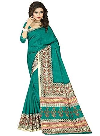 e-VASTRAM Womens Crepe Printed Art Silk Saree(V3121_Green)