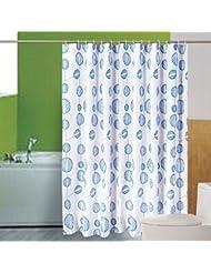 LUYIASI- Cortinas de la ducha simple línea bola de baño de cortina impermeable espesamiento para evitar la cortina de ducha de moho de poliéster de tela (equipado con ganchos) Shower Curtain ( Color : Azul , Tamaño : 150cm*180cm )