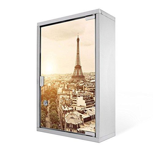 #Medizinschrank groß Edelstahl abschliessbar 30x45x12cm Arzneischrank Medikamentenschrank Hausapotheke Erste Hilfe Schrank Motiv Dächer Von Paris#