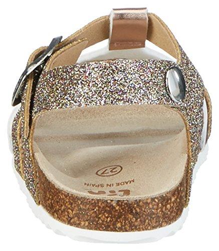 Garvalin 172675, Sandales  Bout ouvert fille Gold (Bronce Y Multicolor)