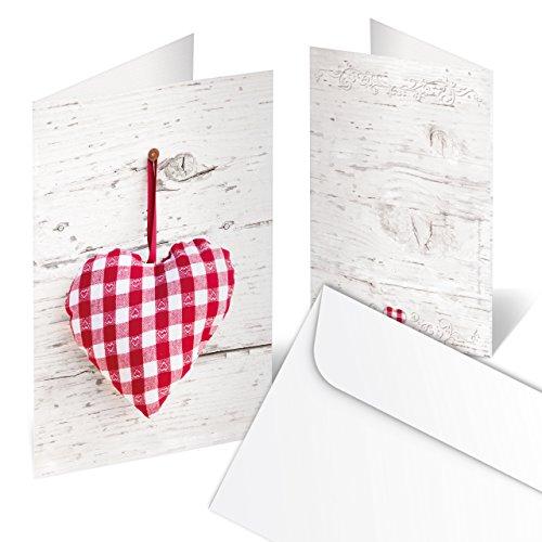 10 Stück Weihnachtskarte HERZ Grußkarte rot weiß kariert + KUVERT Glückwunschkarte Dankes-Karte Einladungskarte Karte Weihnachten