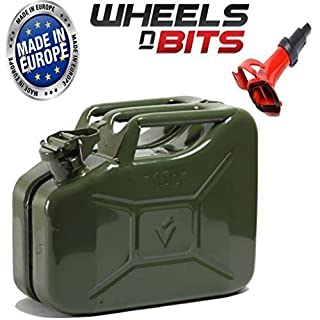 Wheels N Bits METAL POWER COATED INSIDE AN OUT JERRY CAN 10L LITRE CAN WITH SPOUT