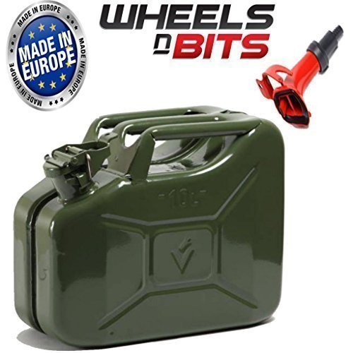 NEW HIGH QUALITY METAL POWER COATED INSIDE AN OUT JERRY CAN 10L LITRE CAN WITH SPOUT