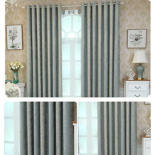 MENGXIANG Europäische Chenille-Jacquard-Vorhänge Wohnzimmer Schlafzimmer Verdunkelungsvorhänge Hause Vorhänge blau 135 * 245cm