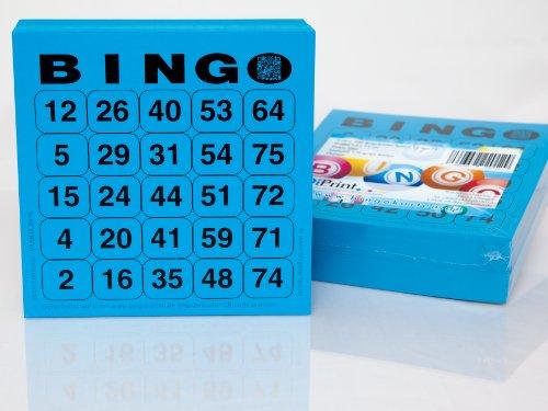 200 große Bingokarten für Senioren 25 aus 75 (blau)