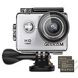 GeeKam Action Cam 1080P Full HD 30 m Unterwasserkamera 2 Zoll LCD 120 ° Weitwinkel-Sportkamera mit 2 1050mAh Akku und Zubehör-Kit Silver