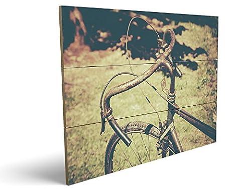Vintage Bike, qualitatives MDF-Holzbild im Drei-Brett-Design mit hochwertigem und ökologischem UV-Druck Format: 100x70cm, hervorragend als Wanddekoration für Ihr Büro oder Zimmer, ein Hingucker, kein Leinwand-Bild oder (Zoom Film Kostüm)