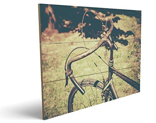 Vintage Bike, qualitatives MDF-Holzbild im Drei-Brett-Design mit hochwertigem und ökologischem UV-Druck Format: 100x70cm, hervorragend als Wanddekoration für Ihr Büro oder Zimmer, ein Hingucker, kein Leinwand-Bild oder (Kostüm Eine Ninja Weibliche)