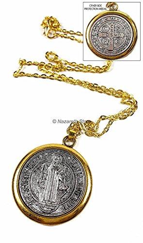 """Nazareth Store Saint Benedict Medaille Gold Silber Ton St SAN Benito Medalla Kreuz Halskette 1.4\"""""""