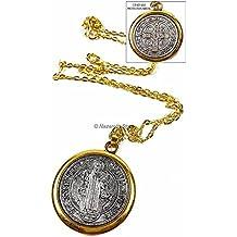 "Saint Benedict Medal Gold Silver Tone St SAN BENITO Medalla Cross Necklace 1.4"""