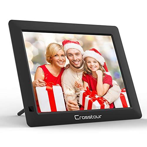 Digitaler Bilderrahmen, Crosstour Fotorahmen 90° Auto-Rotation 1080P Full HD-Unterstützung mit Fernbedienung USB/SD/Wiedergabe von Video/Musik//Uhr/Kalender/Alarm