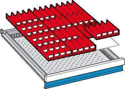 LISTA Mulden, Fronthöhe 50 mm, 12 Muldenteile 4-teilig, 50 Muldenwände 4-teilig, Schubladennutzgröße BxT 459x612 mm