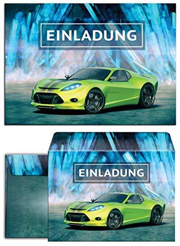 12 Einladungskarten Incl. 12 Umschläge Geburtstag Kinder Junge Rennauto / Rennwagen / Auto / Einladungen Kindergeburtstag für Jungen