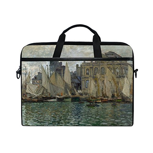 Ahomy Monet Art The Havre Museum See Segelboot 35,6-39,1 cm Multifunktional Stoff wasserdicht Laptop Tasche Aktentasche Schultertasche Messenger Bag
