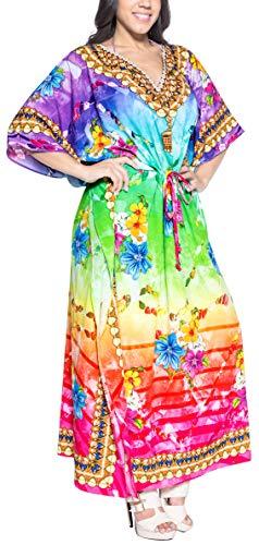 LA LEELA Frauen Damen Kaftan Tunika 3D HD Gedruckt Kimono freie Größe Lange Maxi Party Kleid für Loungewear Urlaub Nachtwäsche Strand jeden Tag Kleider Mehrfarbig_V568 (Mutterschaft Party Kleider Lange)