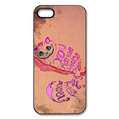 Fantastic DIY Hard Plastic Protective Case with Cheshire Cat Quotes We Are All Mad Here for iPhone 5 5S -Black030904