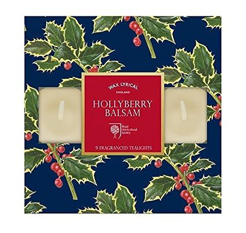 Wax Lyrical RHS Jardin parfumé houx Balsam 9bougies chauffe-plats parfumées