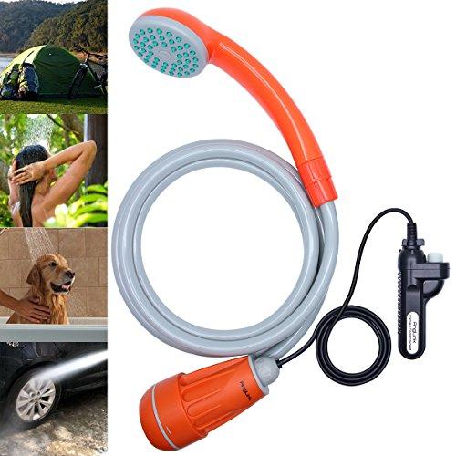 Akku-kapazität Einheiten (AngLink Campingdusche mit Tauchpumpe und Batteriebetrieben Auto Dusche Tragbar Outdoor Dusche / Mobile Dusche für Camping, Auto, Outdoor, Garten, Wasserkraft Haustiere)