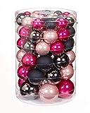 Inge-glas 60x Glas Christbaumkugeln Pink Rosa Schwarz Glanz+Matt Kugeln 4,5,6,7 cm