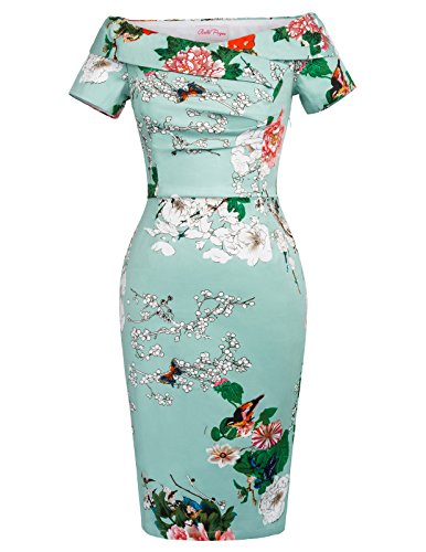 Belle Poque Retro Dress - Robe - Cocktail - Manches Courtes - Femme - - 42