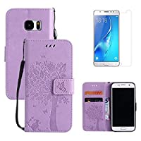 for Samsung Galaxy S7 Edge Flip Case and Screen Protector ,OYIME [Purple Cute Cat and Butterfly Tree] Design Leather Kickstand Magnetic Holster with Card Holder Full Body Protective Wallet Cover